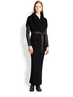 Donna Karan - Leather-Sleeve Cashmere Wrap Jacket