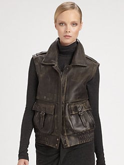 Donna Karan - Leather Motorcycle Vest
