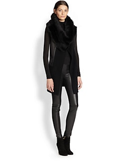 Donna Karan - Belted Cashmere & Leather Vest