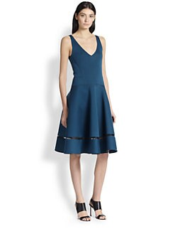 Donna Karan - Flared Mesh-Insert Dress