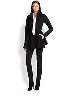 Donna Karan - Leather-Trimmed Peplum Jacket