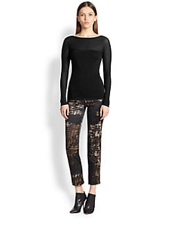Donna Karan - Slim-Fit Printed Pants