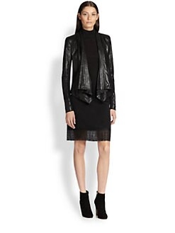Donna Karan - Jersey-Insert Leather Jacket