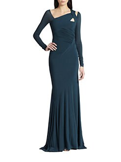 Donna Karan - Asymmetrical Cold-Shoulder Gown