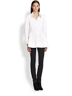 Donna Karan - Cotton Poplin Peplum Shirt