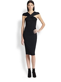 Donna Karan - Crossover Cap-Sleeve Dress