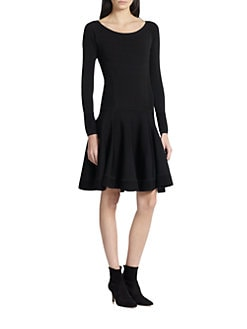 Donna Karan - Long-Sleeve Fit-&-Flare Dress