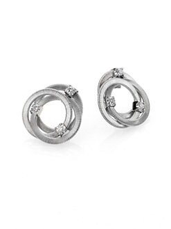 Marco Bicego - Diamond & 18K White Gold Interlocking Button Earrings