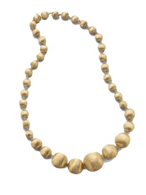 Africa 18K Yellow Gold Graduated Ball Necklace