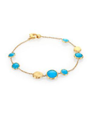 Jaipur Resort Turquoise & 18K Yellow Gold Station Bracelet
