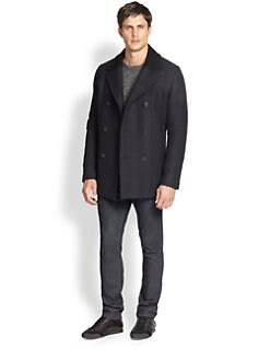 Theory - Dagmar Check Wool-Blend Peacoat