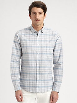 Theory - Cotton Multi-Grid Sportshirt