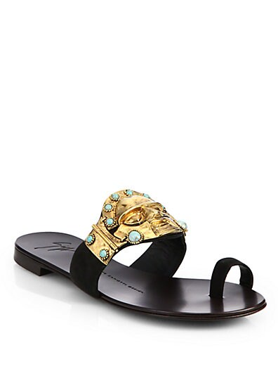 Tribal Face Suede Toe-Ring Sandals