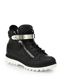 Giuseppe Zanotti - Leather Ridged-Sole High-Top Sneakers
