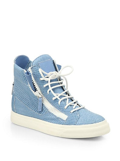 Snake-Embossed Leather High-Top Sneakers