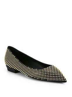 Giuseppe Zanotti - Studded Leather Point-Toe Flats