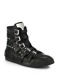 Giuseppe Zanotti - Studded Leather Buckle & Fringe High-Top Sneakers
