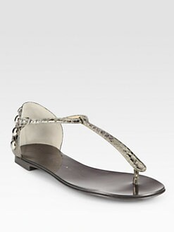 Giuseppe Zanotti - Studded Metallic Leather Thong Sandals