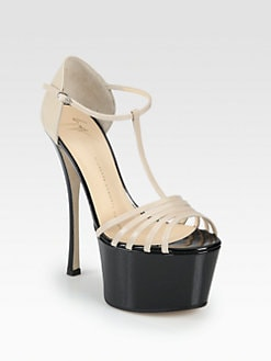 Giuseppe Zanotti - Bicolor Patent Leather T-Strap Platform Pumps