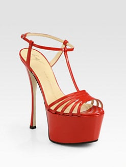 Giuseppe Zanotti - Papavero Patent Leather T-Strap Platform Sandals