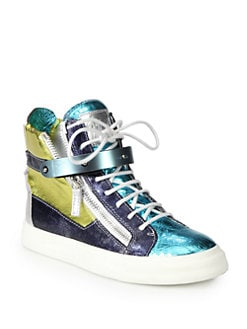 Giuseppe Zanotti - Colorblock Textured Metallic Leather Sneakers