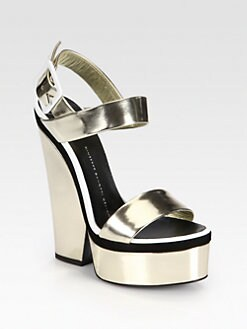 Giuseppe Zanotti - Metallic Leather Platform Wedge Sandals