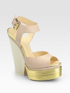 Giuseppe Zanotti - Metallic-Leather Trimmed Platform Wedge Sandals