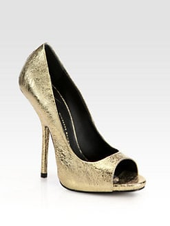 Giuseppe Zanotti - Sparkle Crinkled Metallic Leather Platform Pumps