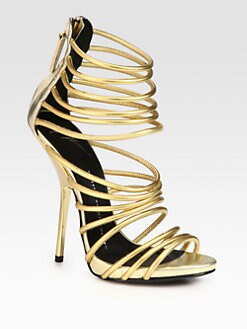 Giuseppe Zanotti - Gold Bangle Metallic Leather Platform Sandals