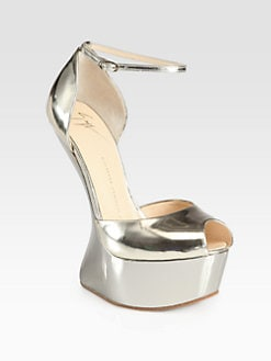 Giuseppe Zanotti - Metallic Leather Curved Wedge Platform Sandals