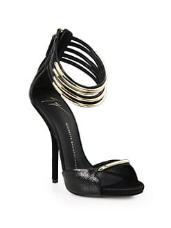 Giuseppe Zanotti - Reptile-Print Leather Metal Ankle Strap Sandals