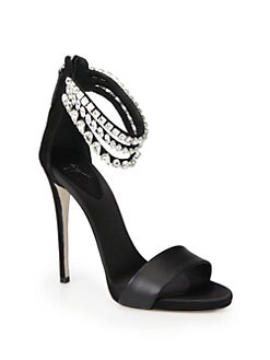 Giuseppe Zanotti - Satin & Suede Crystal-Encrusted Ankle Strap Sandals