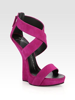 Giuseppe Zanotti - Suede Curved-Wedge Platform Sandals