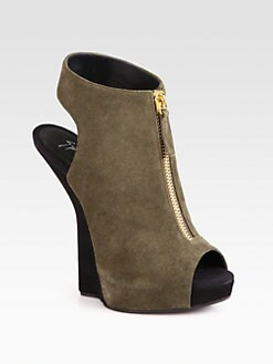 Giuseppe Zanotti - Suede Zip-Detail Wedge Sandals