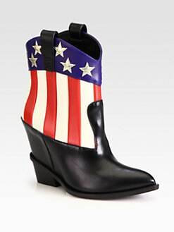 Giuseppe Zanotti - Flag Leather Wedge Cowboy Boots