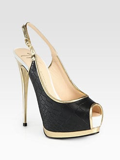 Giuseppe Zanotti - Crocodile-Print Leather Slingback Pumps