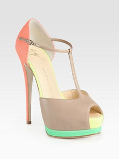 Giuseppe Zanotti - Colorblock Leather T-Strap Platform Pumps