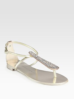 Giuseppe Zanotti - Crystal-Encrusted Metallic Leather Thong Sandals