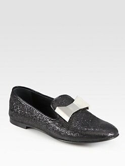 Giuseppe Zanotti - Textured Metallic Leather Bow Smoking Slippers