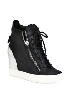 Giuseppe Zanotti - Leather & Metallic Leather Wedge Sneakers