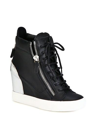 Leather  Metallic Leather Wedge Sneakers