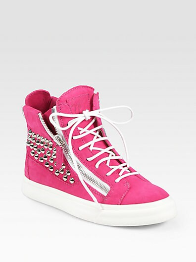 Studded Suede Wedge Sneakers