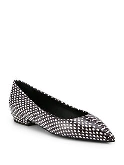 Giuseppe Zanotti - Snake-Embossed Leather Point-Toe Flats
