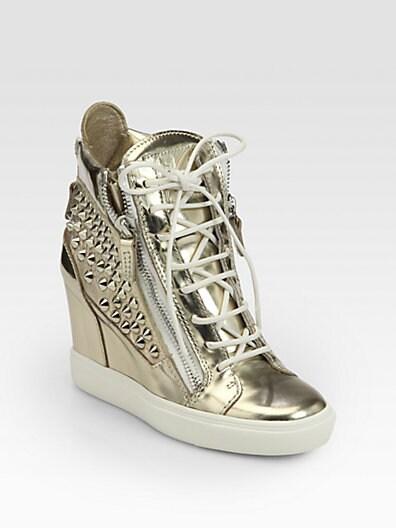 Platino Studded Metallic Leather Wedge Sneakers