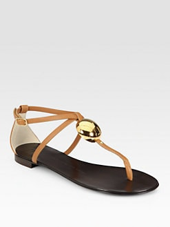 Giuseppe Zanotti - Embellished Leather T-Strap Sandals