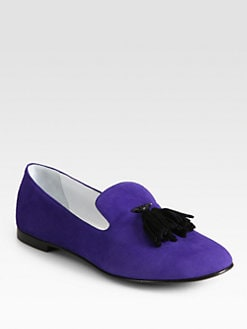Giuseppe Zanotti - Paulia Suede Tassel Smoking Slippers