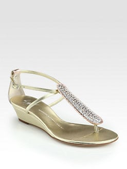Giuseppe Zanotti - Crystal-Coated Metallic Leather Wedge Sandals
