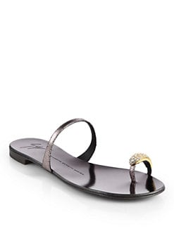 Giuseppe Zanotti - Crystal Toe Ring Metallic Leather Sandals