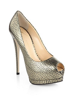 Giuseppe Zanotti - Snake-Print Metallic Leather Platform Pumps