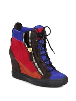 Giuseppe Zanotti - Patchwork Suede Wedge Sneakers